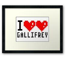 I heart heart Gallifrey 8-bit Framed Print