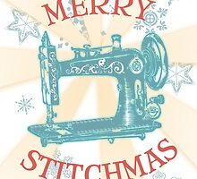 vintage sewing machine Christmas holiday card & sticker by BigMRanch