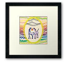 Feeling 13 again~ Unicorns in love with penguins Framed Print