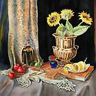 Still Life With Sunflowers Lemon and Apples by Irina Sztukowski
