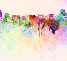 Rio de Janeiro skyline in watercolor background by Pablo Romero