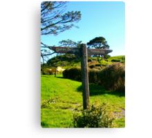 Hobbiton and Green Dragon Signpost - Hobbiton, New Zealand Canvas Print