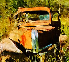 Rusty Old Orange Truck Abstract Impressionist by pjwuebker