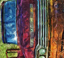 Rusty Old Ford Truck and Friend Abstract Impressionist by pjwuebker