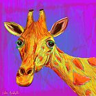 Funky Giraffe in Yellow and Orange by ibadishi