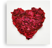Red Roses Love Heart Canvas Print