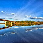 HDR Washademoak Cambridge Narrows Autumn Bridge by Jamie Roach
