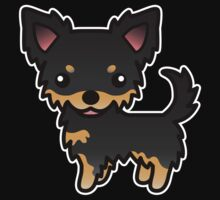 Black And Tan Long Coat Chihuahua Cartoon Dog by destei