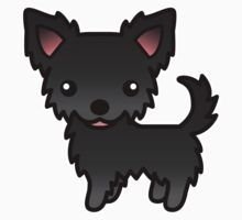 Black Long Coat Chihuahua Cartoon Dog by destei