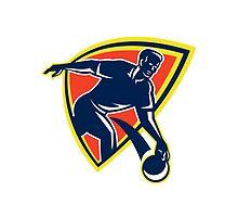 Bowler Throw Bowling Ball Shield Retro by patrimonio