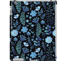 Vintage floral pattern on a black background iPad Case/Skin