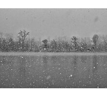 Heavy snowfall and two flying ducks Photographic Print