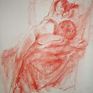 Nude on the red cloth by Julia Lesnichy