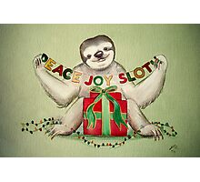 Christmas Sloth Photographic Print