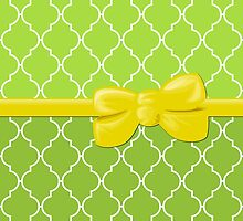 Ribbon and Bow, Moroccan Trellis Yellow White Green by sitnica