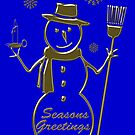Gold Snowman Seasons Greetings Card by David Dehner