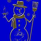Gold Snowman Portuguese Merry Christmas Card Feliz Natal by David Dehner