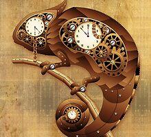 Steampunk Chameleon Vintage Style by BluedarkArt