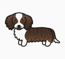 Brindle Piebald Long Coat Dachshund Cartoon Dog by destei