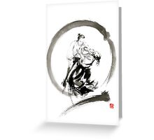Aikido enso circle martial arts sumi-e samurai ink painting artwork Greeting Card