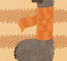 Llama In A Scarf Keeping Warm by Claire Stamper