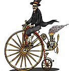 STEAMPUNK PENNY FARTHING BICYCLE (white) by squigglemonkey