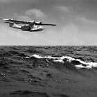 Catalina at sea black and white version  by Gary Eason + Flight Artworks