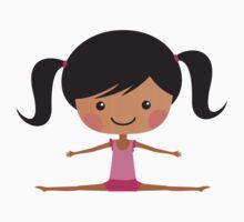 Cute girl gymnast doing the splits - african american by MheaDesign
