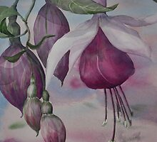 Watercolour: Fuchsia Buds Magenta by Marion Chapman