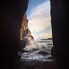 Tenby Rocks Sunset Surf by David Evans