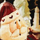 Santa with Candle by Heather Haderly