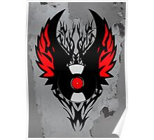 Retro PUNK ROCK Vinyl Record Art - Tribal Spikes and Wings - Cool Music Lover DJ T-Shirt Prints Cases and Stickers Poster