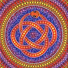 Red Ouroboros Celtic Snake by Elspeth McLean