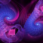 Cosmic Seahorses, abstract fractal art by walstraasart