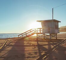 Lifeguard Cabin at Sunset by visualspectrum