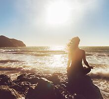 Pretty Woman Meditating by the Ocean by visualspectrum