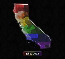 California Rainbow Map - LGBT Equality by LiveLoudGraphic