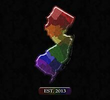 New Jersey Rainbow Map - LGBT Equality by LiveLoudGraphic