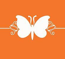 Orange Butterfly Swirls Design by superstarbing