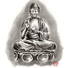 Buddha Medicine sumi-e tibetan calligraphy 禅 figure sculpture original ink painting artwork by Mariusz Szmerdt