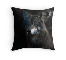 Wolves on alert at night    (See Large !!) Throw Pillow