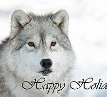 Arctic Wolf Holiday Card 5 by WolvesOnly