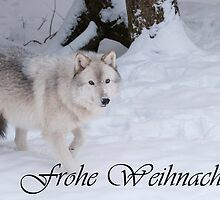 Timber Wolf Christmas Card German 1 by WolvesOnly