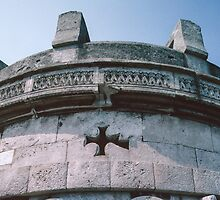 Cross on Theodoric's Tomb 520 AD Ravenna Italy 198404140012 by Fred Mitchell