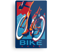 Retro styled motivational cycling poster: Bike Hard Metal Print