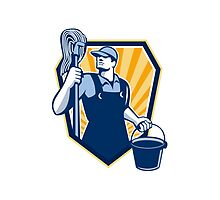 Janitor Cleaner Hold Mop Bucket Shield Retro by patrimonio