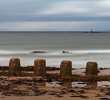 Lossiemouth west beach ghostly waves. by JASPERIMAGE
