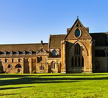 Pluscarden Abbey in morning sun. by JASPERIMAGE