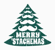 Merry Christmas Mustache Tree by xdurango
