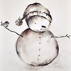 Snowman and Bird Original Drawing by mariakitano
